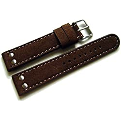 Pure Grey Watch Strap – Water Buffalo 2 Rivets – Dark Brown – 22 mm