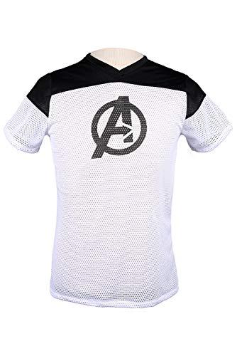 MingoTor Herren Superheld Deadpool Marvel's The Avengers Kurzarm Bedrucktes T-Shirt Hemd Cosplay Kostüm Weiß