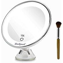 BEQOOL Espejo Maquillaje con Luz 10X LED Espejo de Baño Sobremesa Espejo Belleza Cosmetico con Tacto Ventosa Portatil Viaje Make up Mirror Iluminación Natural Dimmable Rotación en 360 Grados (10 X Espejo Aumento)