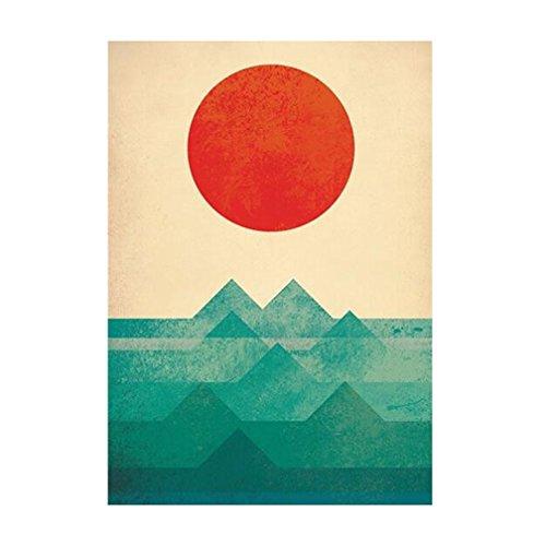 sasa Leinwanddruck Zusammenfassung Sea Sun Sunrise - Kunstdruck Fine Art Geschenk Moderne Vintage Poster Print Leinwandbild Leinwand Plakat Deko XL042, 40x50cm