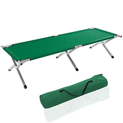Brandina Lettino da Campeggio Camping in Metallo fino a 150 Kg, Inclusa Borsa da Trasporto, Rivestimento in tessuto Oxford, 190 x 64 x 44, (Verde)