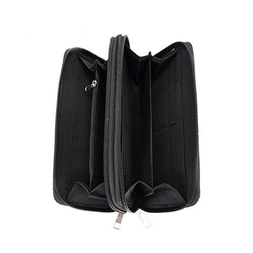 Blancho Biancheria da letto delle donne [Ruota del Tempo] Borsa in pelle PU Set Elegante Portafoglio Hanbag Combo Shoulder Bag borsa grigia Wallet-Black