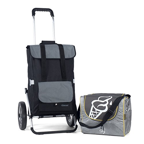 Andersen Einkaufstrolley Royal aus Aluminium mit Metallspeichenrad 25 cm und Einkaufstasche Vektor schwarz/grau mit Kühlfach, extra Kühlbox