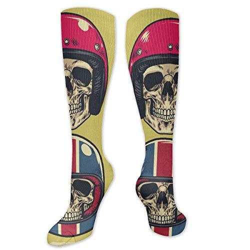 odin sky I calzini da donna e da uomo 1 paio sono i migliori atleti, corsa, volo, viaggi, infermieri, set di teschi da disegno a mano che indossano vari caschi da moto, 19,68 pollici 50CM