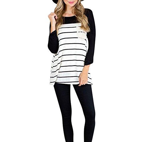 T-shirt Femmes Automne Manches Longues Simple Basique Chemiser Rayé Haut Tops Blouse Noir