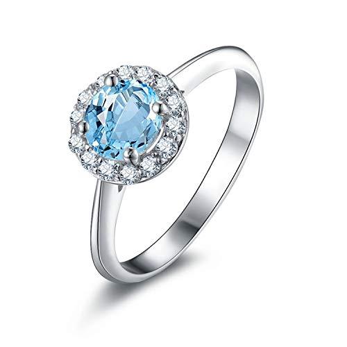 Amdxd gioielli 925 sterline argento fede nuziale for donna blu rotondo topazio anelli taglia 25