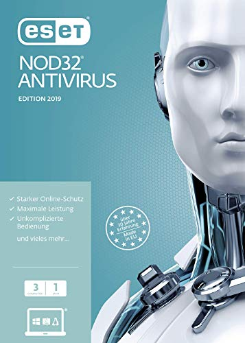 ESET NOD32 Anivirus 2019 | 3 User | 1 Jahr Virenschutz | Windows (10, 8, 7 und Vista) | Download | Standard  |  3 User  |  1  |  PC/Mac  | Online Code