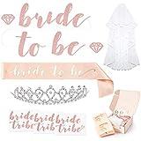 Rose Gold Pink Bachelorette Party Decorations Kit - Bridal Shower Supplies | Bride to Be Sash, Rhinestone Tiara, Pre-Strung B