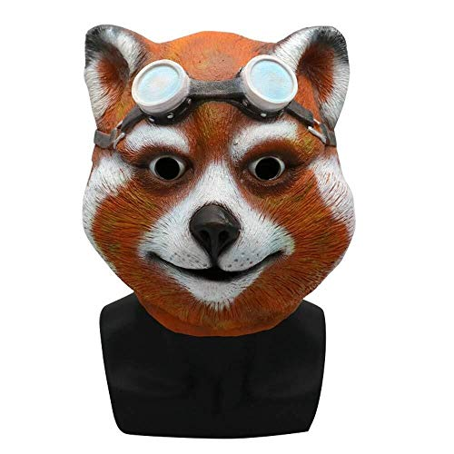 Für Eishockey Kostüm Hunde - WANG XIN Tragen Einer Sonnenbrille Katze Kopf Latexmaske Maskerade Kostüm Cosplay Requisiten Halloween heikle Party Supplies (Orange) (Color : Orange)