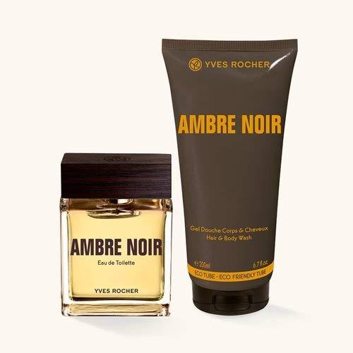 Yves Rocher AMBRE NOIR Duft-Set, Geschenk-Set bestehend aus Eau de Toilette & Dusch-Shampoo, sinnlich-eleganter Duft - Noir Gel Parfüm