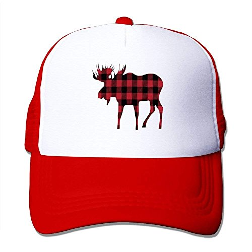 Miedhki Buffalo Plaid Moose Lumberjack Style Mesh Trucker Caps/Hats Adjustable for Unisex C7 - Buffalo Fitted T-shirt