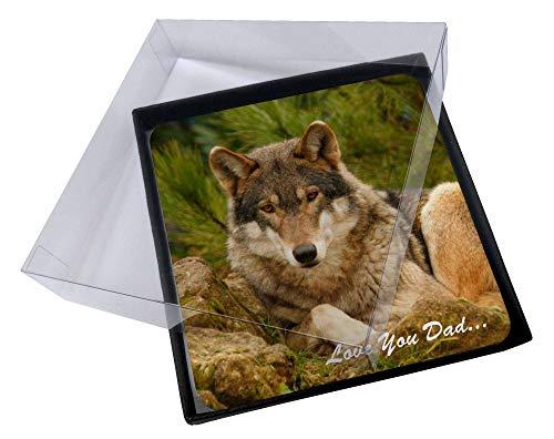 Advanta - Coaster Set 4X Wild Wolf 'Love You Dad' Bild Setzer gesetzt Wolf Coaster Set