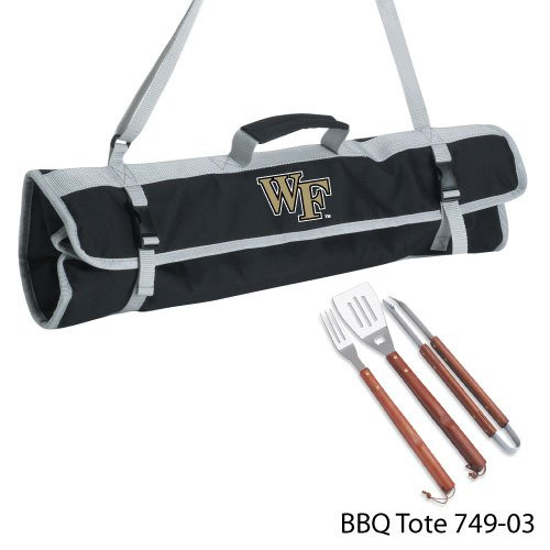 Picnic Time NCAA Wake Forest Demon Deacons 3-Piece BBQ Tool Set with Tote -