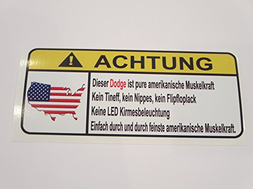 Dodge Pure Amerikanische Muskelkfaft Lustig Warnung Aufkleber Decal Sticker (Dodge Awd Charger)