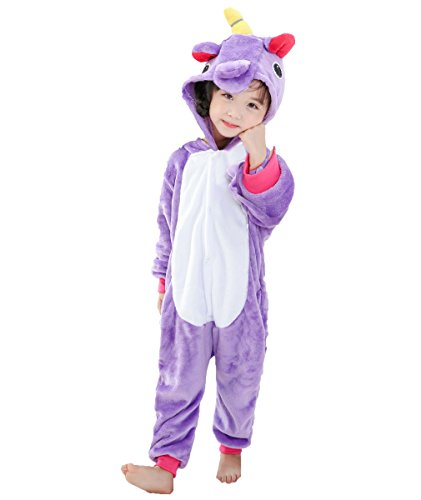 Jt-amigo - pigiama tutina costume animale - bambina e bambino, unicorno viola, 6-8 anni
