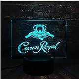 2019 Novel Illusion LED Corona acrilica Royal Logo Decorazioni per la casa Bar Carica USB 7 colori da tavolo Mood Night Light Regalo per bambini per gli amici camera da letto