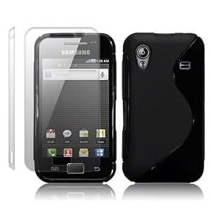 Samsung Galaxy ACE S5830 TPU Silikon Schutzhülle Case Cover Tasche in schwarz + 2 x Displayschutzfolie - QUBITS Retail-Verpackung