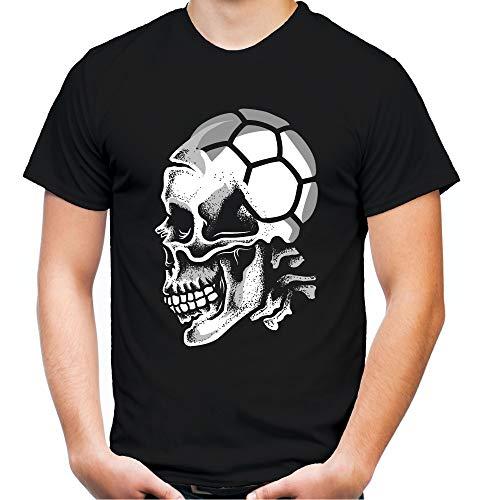 Sport Skull Handball Männer und Herren T-Shirt   Sport Totenkopf (XL, Schwarz)