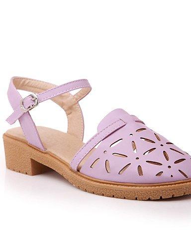 UWSZZ IL Sandali eleganti comfort Scarpe Donna-Sandali-Casual-Punta arrotondata-Basso-Finta pelle-Blu / Rosa / Viola / Bianco White