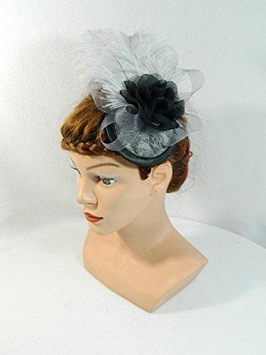 (Fascinator grau Crin Damenhut Kopfschmuck Headpiece Burlesque Gatsby 20er Haarschmuck)