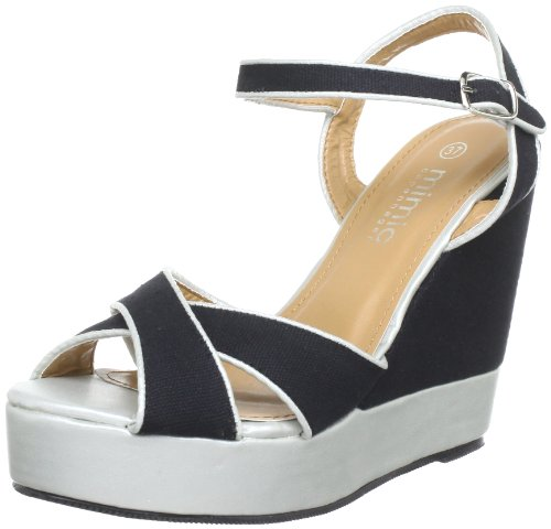 Mimic Copenhagen Canvas Wedge, Bride cheville femme Noir - Schwarz (Black)