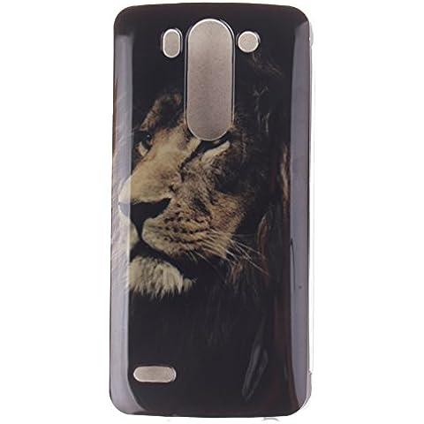 KATUMO® Carcasa Dura LG G3 S, Funda Rigida Transparent Silicona Gel para LG G3 S (LG G3 Mini) Carcasa de Piel Funda Goma Case Cover Cascara-León