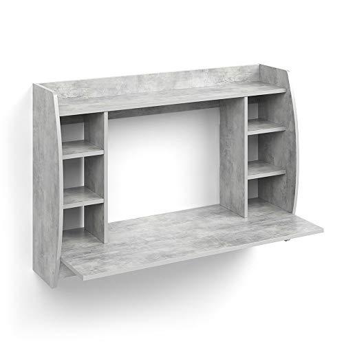 Vicco Bureau Mural Max avec étagères et Plateau Table de Bureau Table PC Béton
