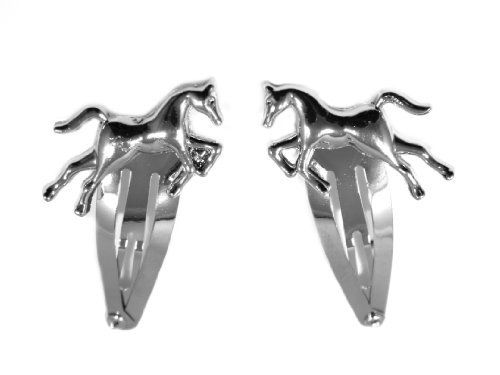 2 Silver Unisex 2 Horse Hair Slides, Silver