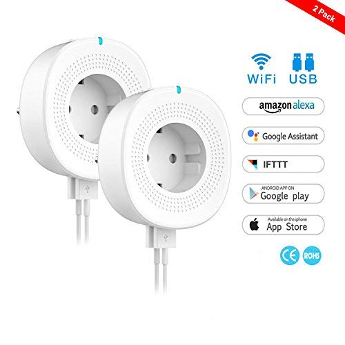 WiFi Smart Steckdose,WLAN Smart Plug Kompatibel mit Alexa und Google Home, USB Port, Timing Funktion, Fernbedienung Ihre Geräte überall,kein Hub erforderlich (2 Packs)