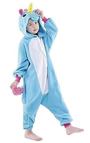 Kinder Pyjamas Tier Einhorn Jumpsuit Nachtwäsche Unisex Cosplay Kostüm für Mädchen und Jungen (125/Größe:135-145cm, (Mädchen-kostüm Für Kinder)