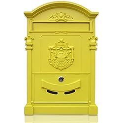 MXD Boîte aux lettres Européenne Villa Boîte aux lettres Mur extérieur Boîte aux lettres avec serrure Postbox Retro Boîte de journaux Jaune