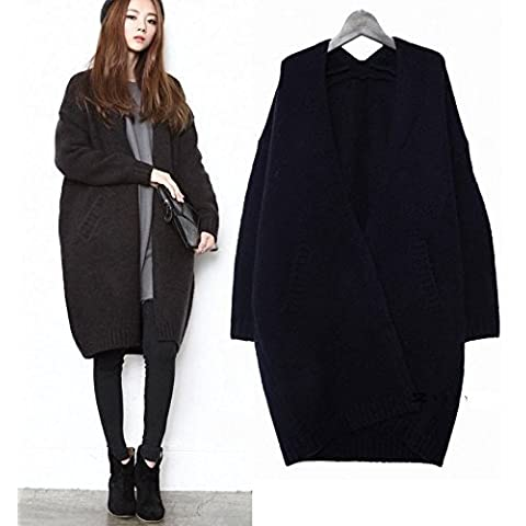 Dark gray women's long sweater coat thicker female long section