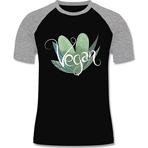 Statement Shirts - Vegan Lettering - zweifarbiges Baseballshirt für Männer Schwarz/Grau Meliert