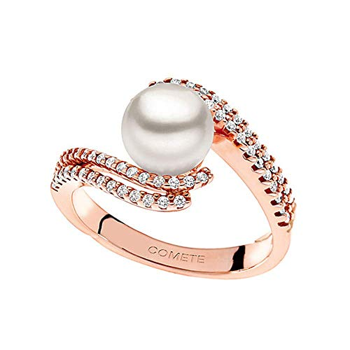 COMETE GIOIELLI anello con perla in oro rosa 18kt e diamanti ANP340