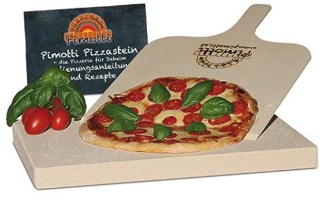 Pimotti 202_002 Schamott Pizzastein Brotbackstein, 3cm mit Schaufel und