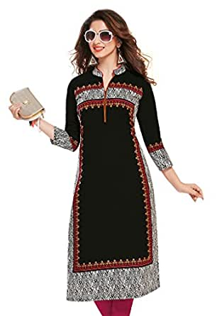 Ishin Cotton Black Printed Unstitched Kurti Fabric.