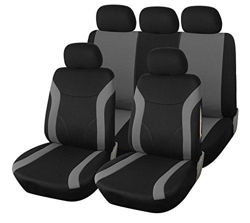 upgrade4cars Coprisedile Universale Auto Nero | Coprisedili Universali per Anteriori e Posteriori | Accessori Automobile Interni | Foderine Sedili | Copri Sedile | Set Completo di 9 (B2 Nero Grigio)