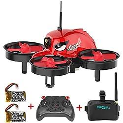 Micro Racing Drone, REDPAWZ R011 5.8G FPV Drone Quadricoptère avec Caméra 120° Grand angle 3 pouces VR des lunettes de protection Retour d'une clé RTF Drone pour traverser+ 2pcs Batterie