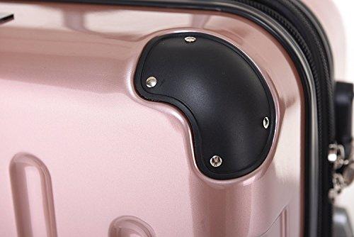 BEIBYE Zwillingsrollen 2048 Hartschale Trolley Koffer Reisekoffer in M-L-XL-Set in 17 Farben (Rosa Gold, XL) - 5