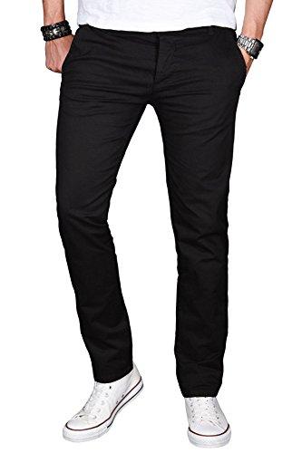 Designer-outfit (A. Salvarini Herren Designer Chino Stretch Stoff Hose Chinohose Regular Slim mit Elasthananteil AS024 [AS024 - Schwarz - W31 L32])