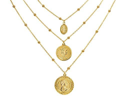 Münze Anhänger Halskette 3 Layered 22K Gold Plated Insignia Kanadische Münze mit Gold Ball Kette Münze Halskette für Frauen Schmuck