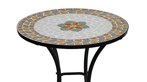 Lifestyle For Home Mosaiktisch schwarzer Metalltisch Kaffeetisch mit Blumenmuster rund für Balkon