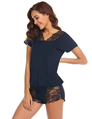 Pyjama Damen Kurz Sexy Schlafanzug Nachtwäsche Zweiteiliger Shorty mit Spitze Kurzarm Shirt/Schleife Rückenfrei Träger Sling top und Kurz Hosen (XXL(EU 48), Blau)