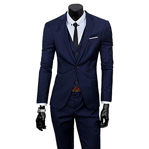 Lilis® Herren One Button 3-teilige Mode Anzug Einreiher Notch-Revers Slim Fit Tux -