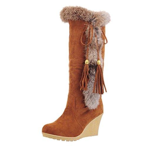 Yiiquan Damen Warme Stiefel Mittlere Höhe mit Dicken Gefüttert Keilabsatz Kunstpelz Schneeschuhe (Braun, 37 EU)