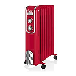 Swan Sh60010rn 11 Fin Retro Oil Filled Radiator, Adjustable Thermostat, Handle & Wheels, 2000w, Red