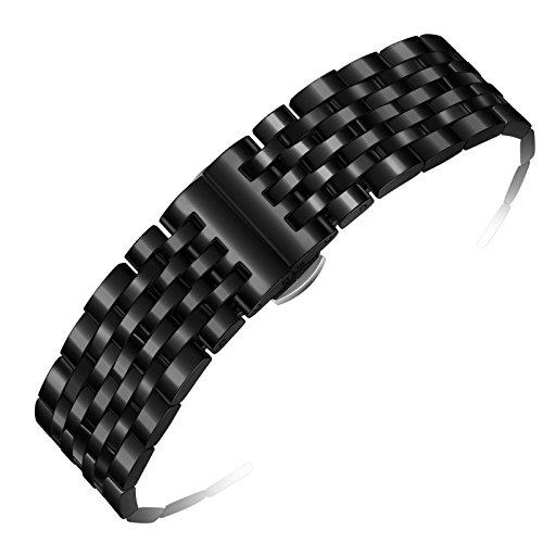 22mm-deluxe-black-metal-watch-band-solid-316l-stainless-steel-links-with-both-straight-ends-and-curv