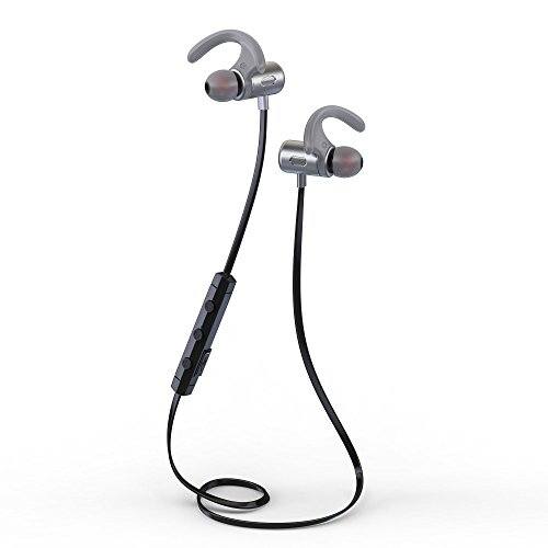 SGIN Auricular Bluetooth, Deportes Auricular Bluetooth V4.2 inálambrico Magnético, Resistente al Sudor Estéreo Headset Reduce del ruido para iPhone, Android teléfonos(gris) - Fozento