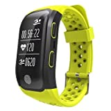 S908 Montre Connectée avec GPS Bracelet Connecté Fitness d'Activité Moniteur de Sommeil/Podomètre/Cardiofréquencemètre pour iOS Android (Jaune)