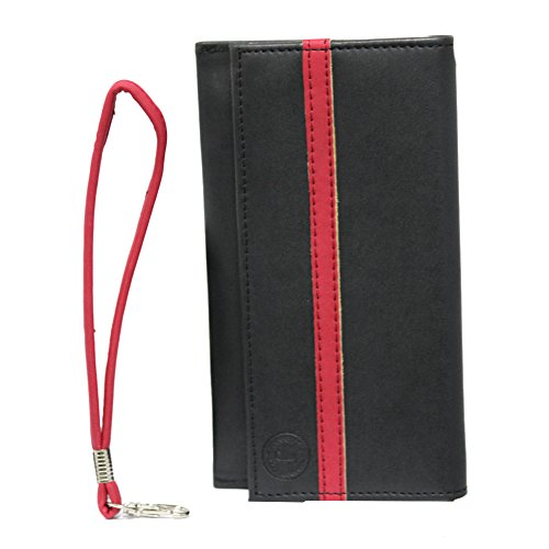 Jo Jo A5 Nillofer Leather Wallet Universal Pouch Cover Case For Nokia Asha 210 Black Red  available at amazon for Rs.390